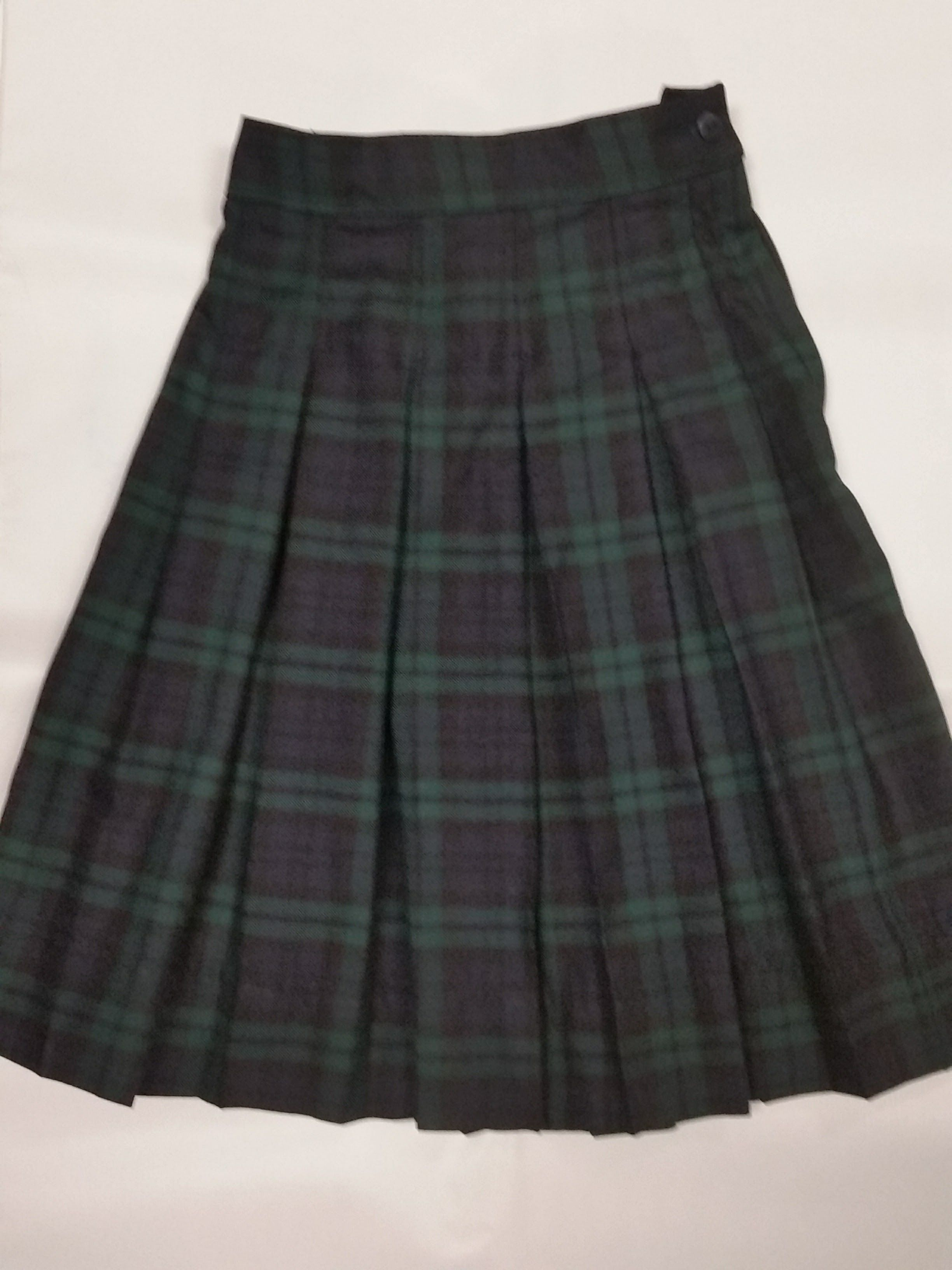 b2c4a41730 Pleated Skirt in Plaid 79. Comfortable poly rayon Black Watch plaid (navy,  evergreen and black). Sewn-down box pleats, zipper/button closure, 3
