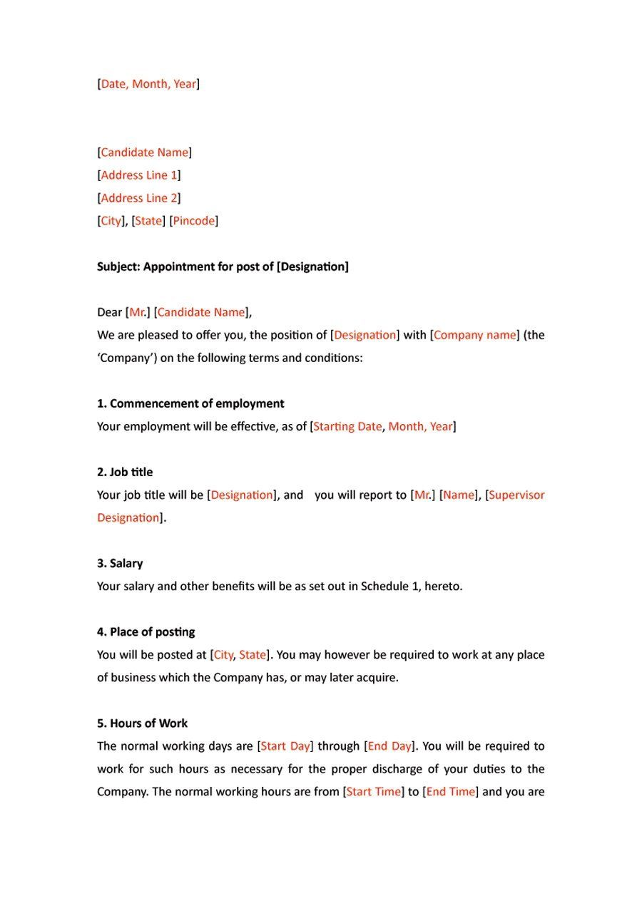 Business Letter Format Example New Employee Bulletin Boards Appointments Sample