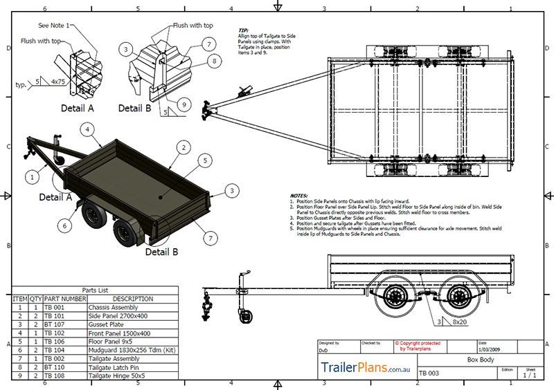Tandem Box Trailer Plan Trailer Plans Designs And Drawings Box Trailer Utility Trailer Trailer Plans