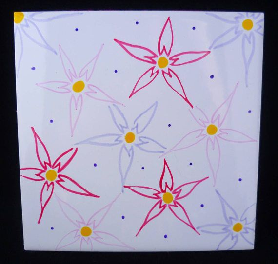 Pink flower decorative tile. Hand painted.