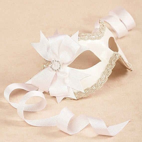 Mia White/Silver masquerade mask, req37430 by partymask on Etsy