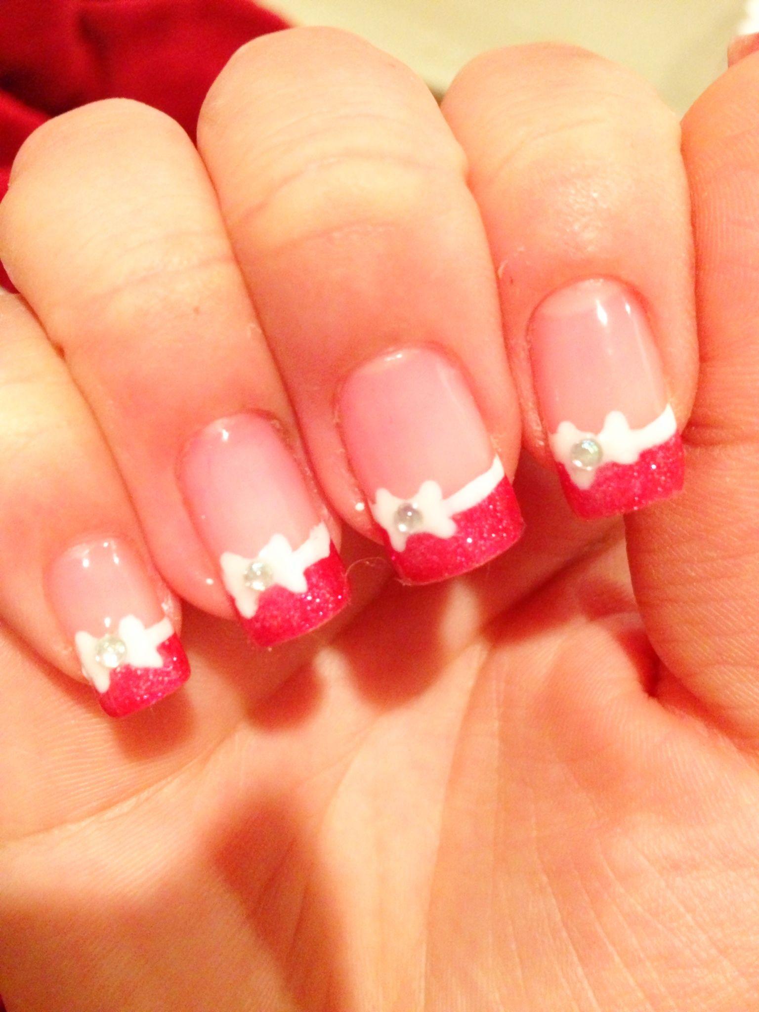 hot pink tip nails - photo #21