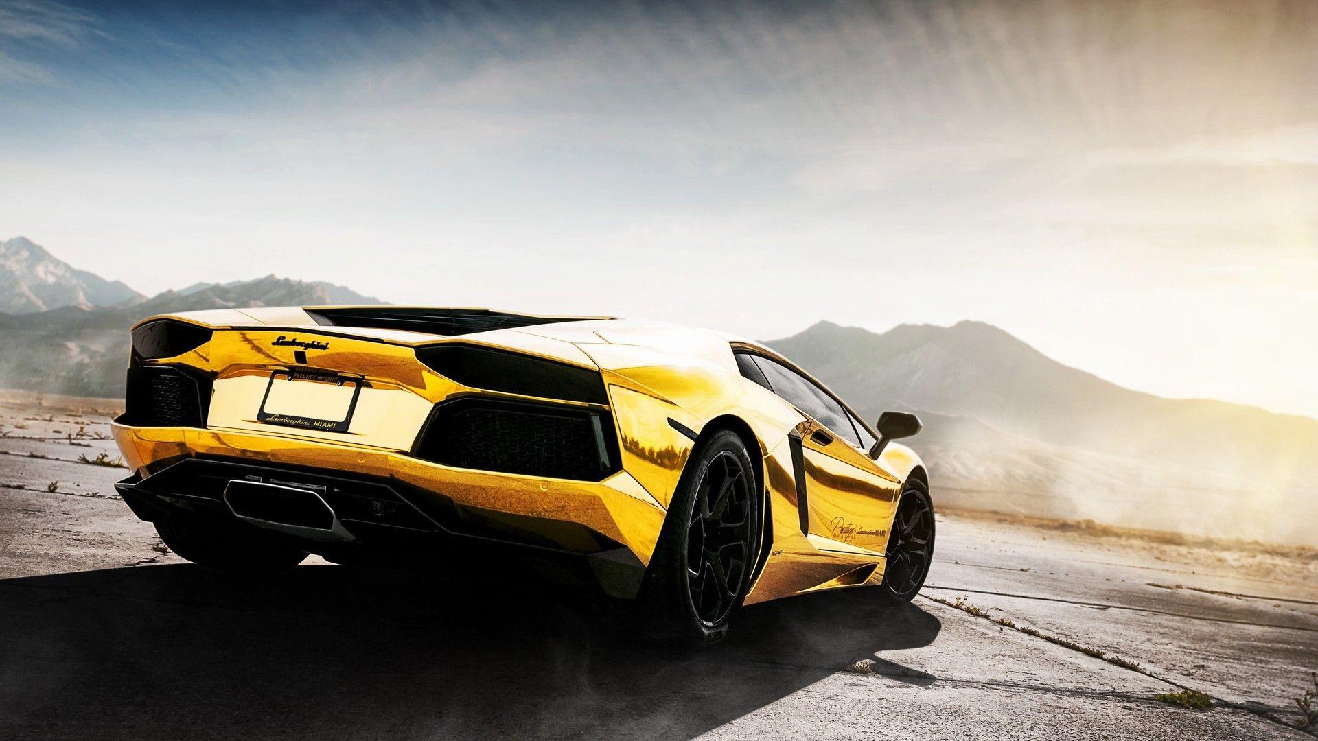 Gold Yellow Cars Landscape Rims Lamborghini Vehicle Golden Car Aventador Stance Wallpaper