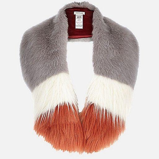 ea6837802 Lilac stripe faux fur tippet scarf | River Island | £28.00 | Fashion ...