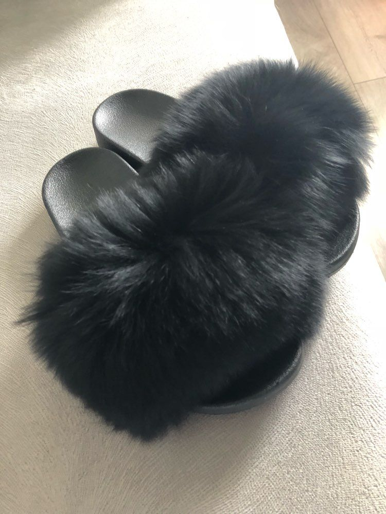 a2f20c56415 Online Shop 2018 New Fur Slides Women s Real Fox Fur Slippers Shoes Flip  Flops Flat Fluffy Fur Retail Wholesale S6018F