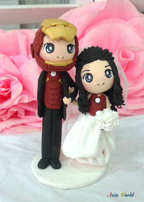 Iron man wedding cake topper clay doll engagement by AsiaWorld