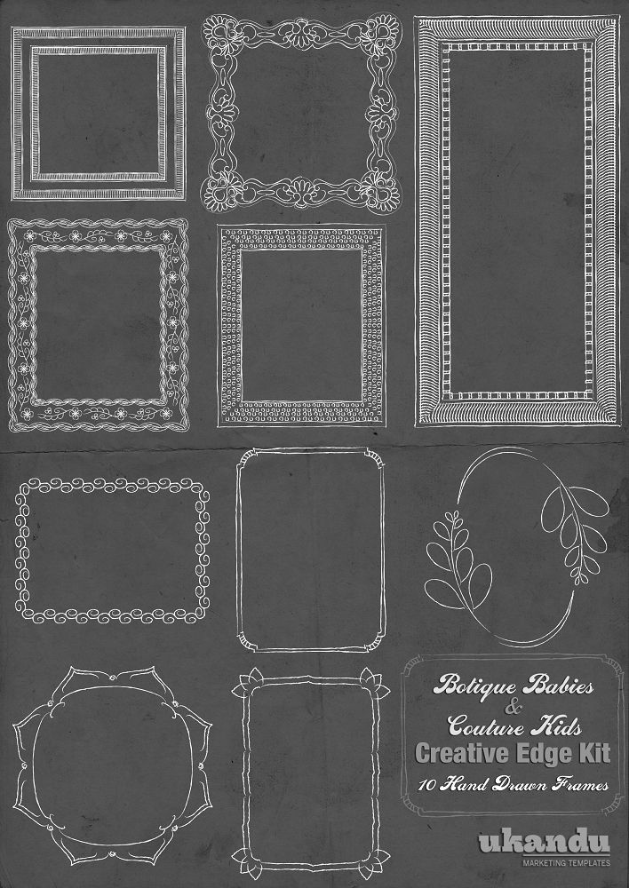 Whimsical Hand Drawn Frames | Photoshop, Illustrator and Templates ...