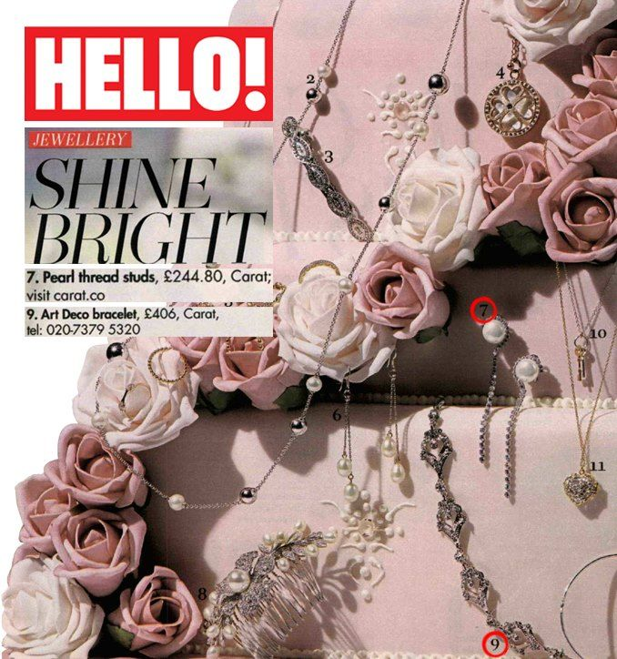 Hello! Our beautiful Art Deco bracelet and Power Pearl drop earrings featured in this week's Hello! magazine. Happy Friday!
