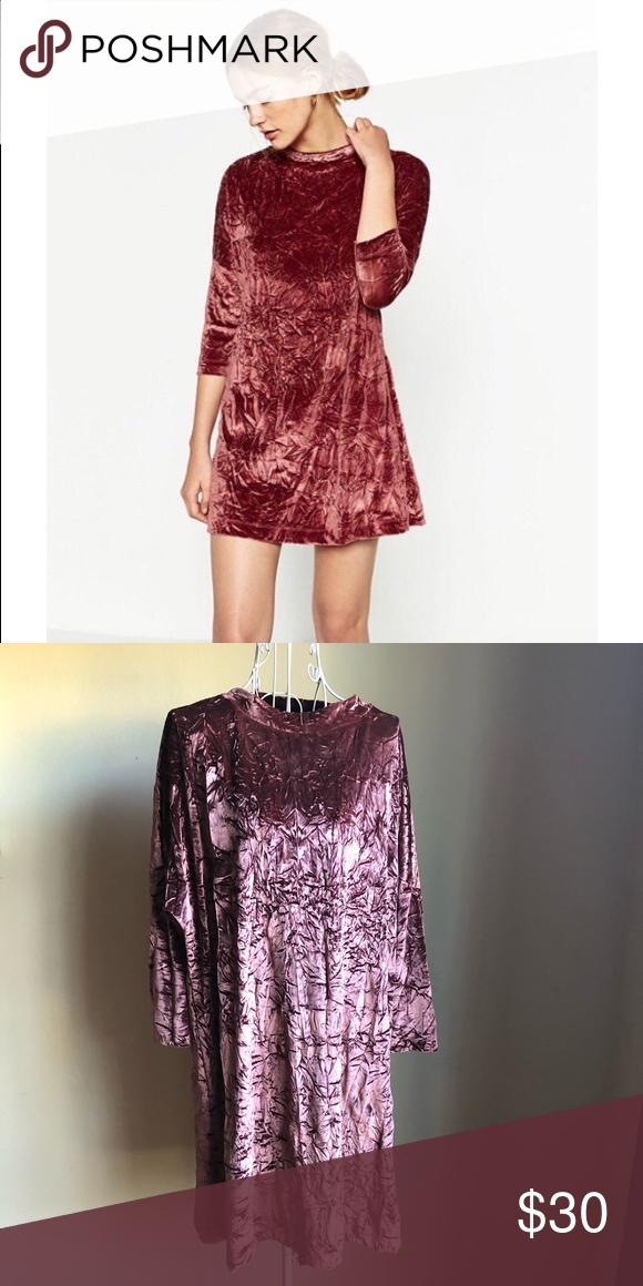 60542f51 Crushed velvet sack dress Crushed velvet sack dress Features: 3/4 dropped  shoulder sleeves, round neck, velvet texture Color: pink Size: S Zara  Dresses Mini