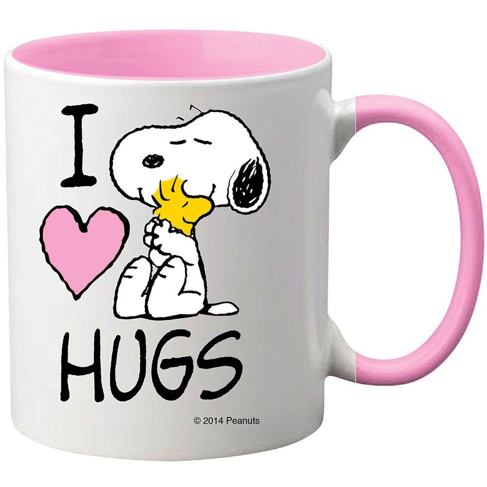 Peanuts Snoopy and Woodstock - I Heart Hugs ceramic Valentine's Day coffee mug. Anyone else love hugs? Love the pink details on this coffee mug?