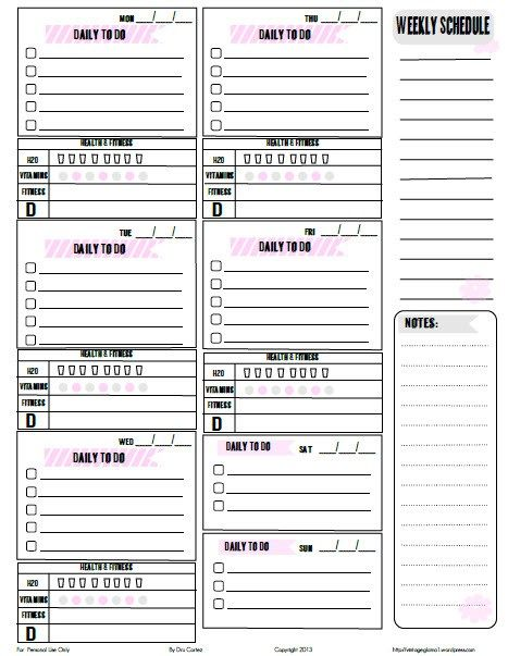 free printable download weekly to do list home and family free
