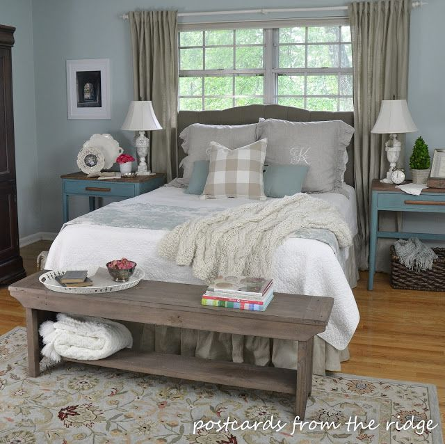 Summer updates to the master bedroom farmhouse style for Farmhouse style bed
