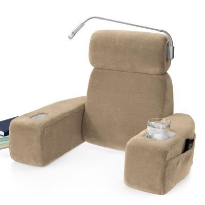 Massaging Bed Rest Sit Up Pillow With Arms At Brookstone Bed