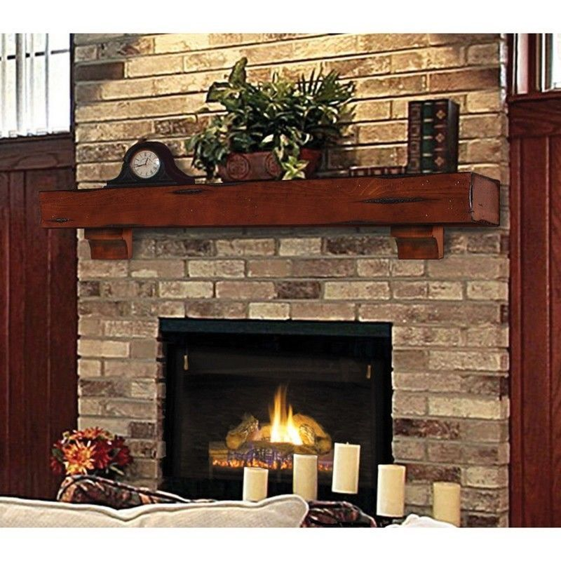"Cabinets And Fireplace Surrounds: Mantle Wood Beam 72"" Cherry Rustic Fireplace Mantel Shelf"