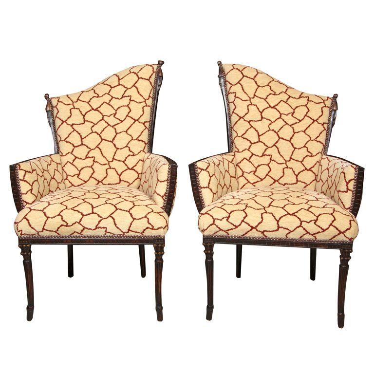 Captivating Pair 1920u0027s Art Deco Upholstered U0027Shaped Backu0027 Arm Chairs