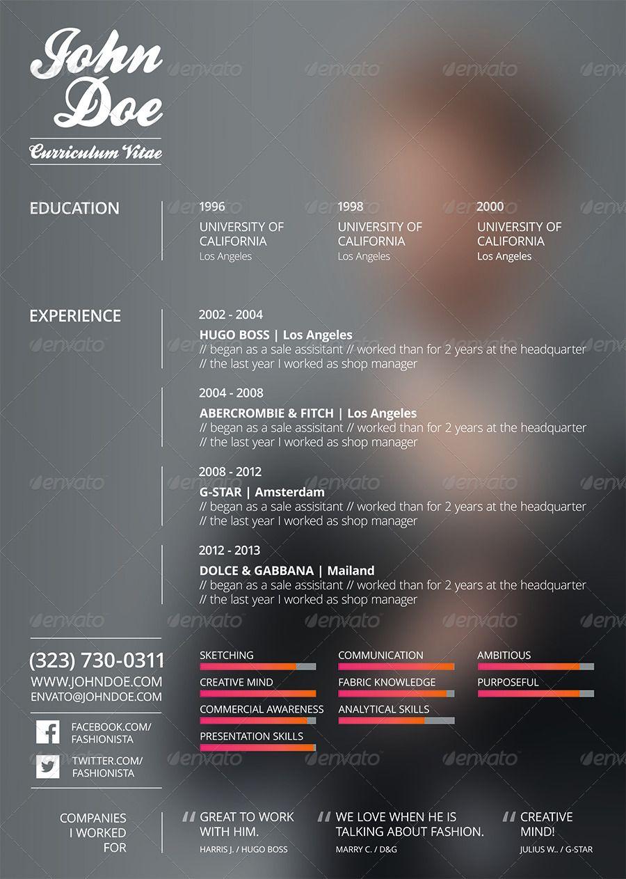 Resume Cv Fashion Design Ad Cv Sponsored Resume Fashion