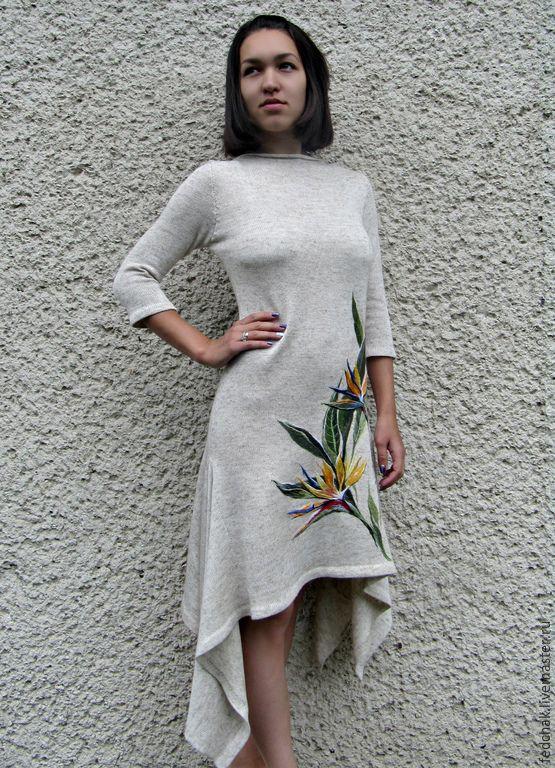 Платья лен с вышивкой фото
