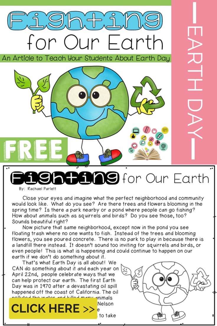Freebie Earth Day Article Fighting For Our Earth Earth Day Activities Earth Day Earth Day Crafts [ 1102 x 735 Pixel ]