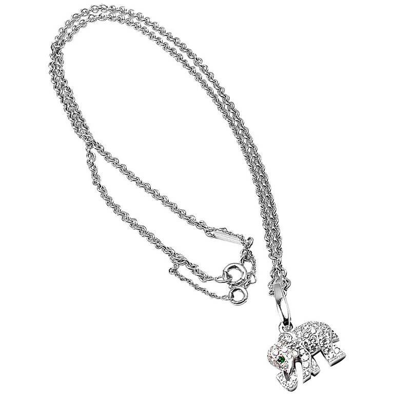 4c785067ce95a Cartier Emerald Diamond White Gold Elephant Pendant Necklace ...