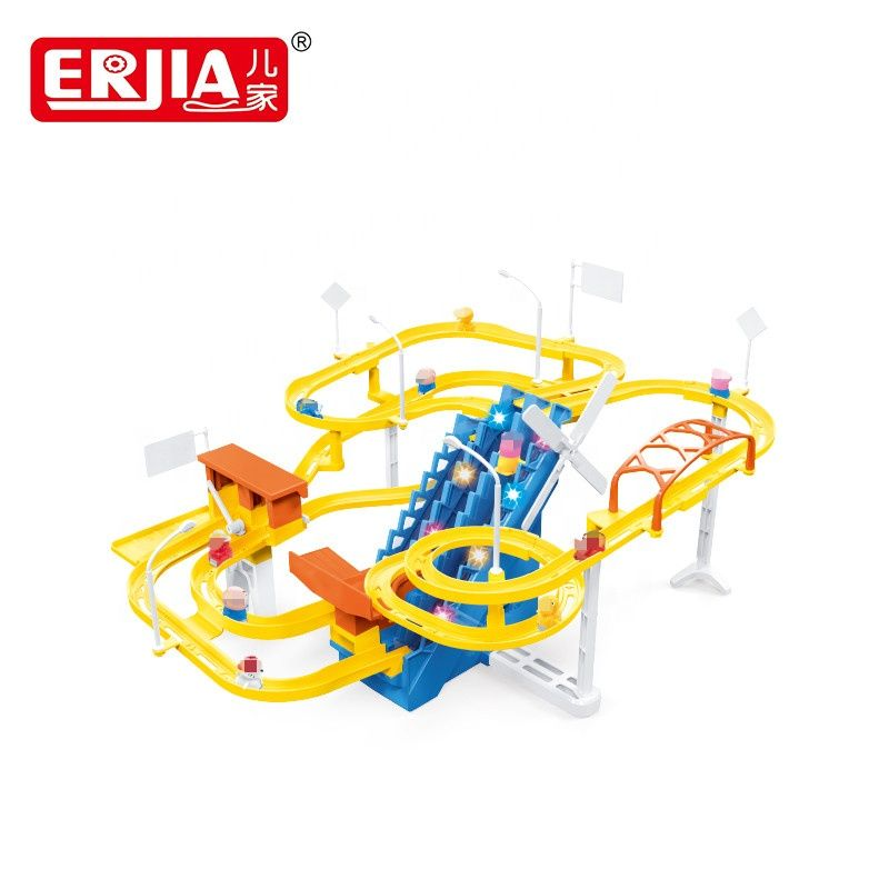 Creative Building Block Diy Toy Yellow Electric Track Slot