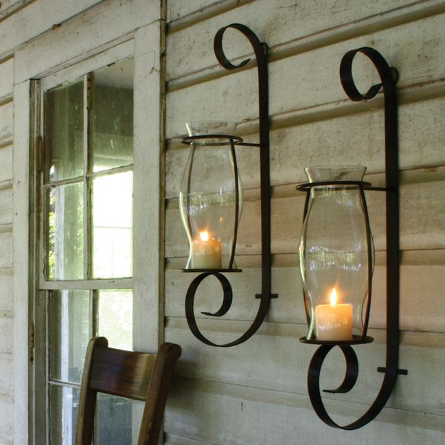 Metal Wall Sconce Candle Holder flat iron wall sconce w glass hurricane is finished in a natural