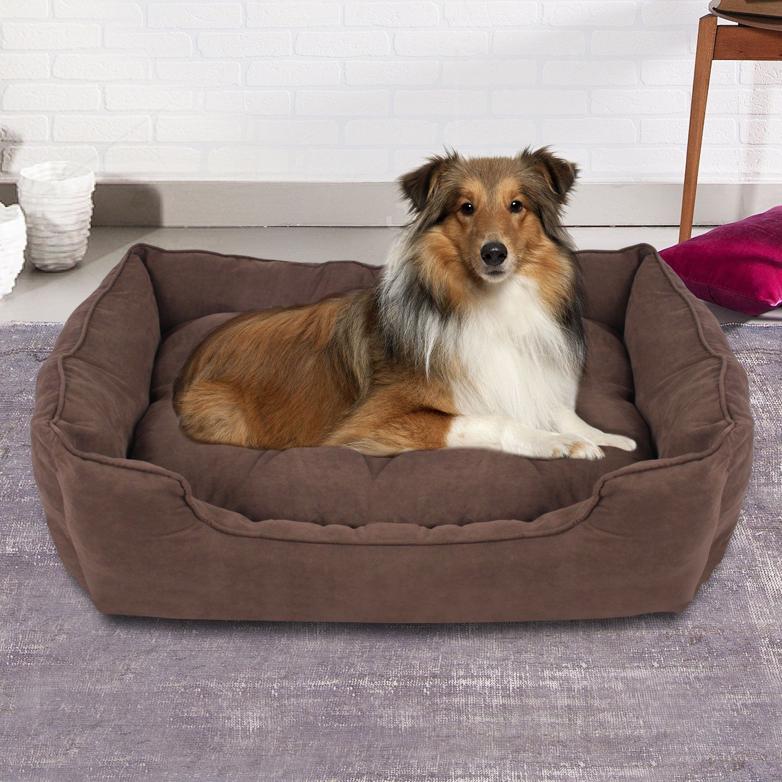 Extra Large Faux Suede Washable Pet Bed Brown in 2020