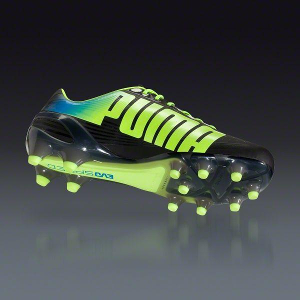 8e427644b76 PUMA evoSPEED 1.2 FG - Black Fluo Yellow Brilliant Blue Firm Ground Soccer  Shoes