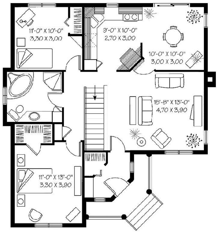 Plano de bungalow estilo americano planos en 2019 - Casas tipo americano ...