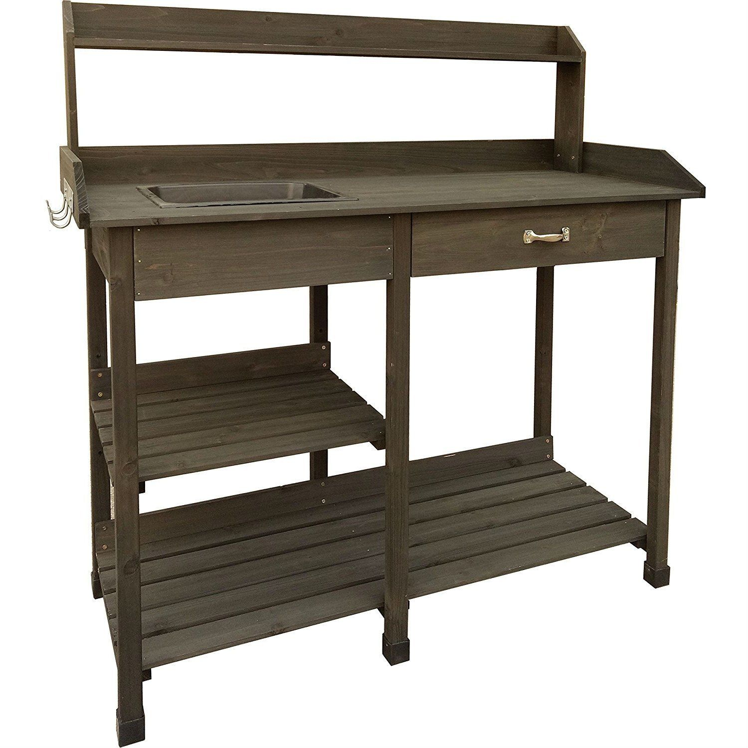 Outdoor Garden Bench Work Table With Drawer In Dark Brown Wood Finish Outdoor Garden Bench Garden Bench Brown Wood