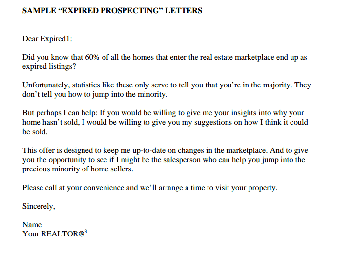 the best expired listing letter s for 2014