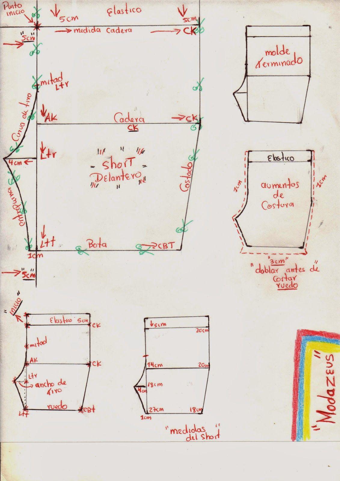 patrón básico de short   trazos   Pinterest   Niños, Costura y Patrones