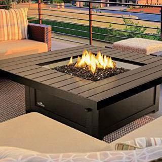 Napoleon St. Tropez Patioflame 48 Inch Propane Gas Fire Table With Glass  Embers By