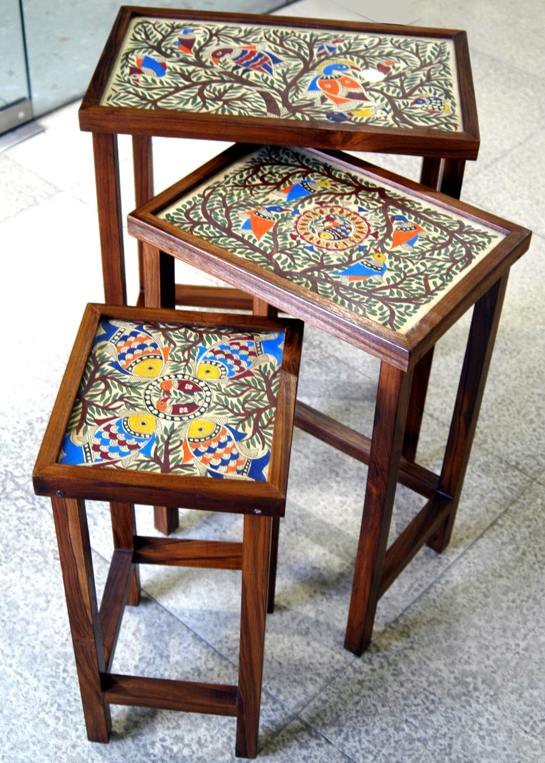 Mithila painted teak wood set 3 of tables Furniture