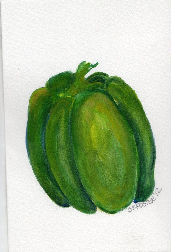 Original Green Bell Pepper Painting watercolor by SharonFosterArt, $9.00
