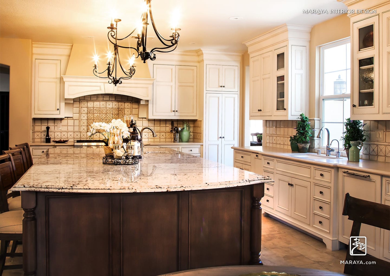 White Spanish Moorish Tile Kitchen White Granite Painted White