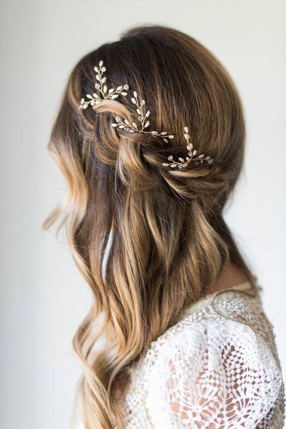 Pearl Hair pins Silver Gold Hair pins Bridal Hairpiece Bridal Hair pins Wedding Headpiece crystal pi