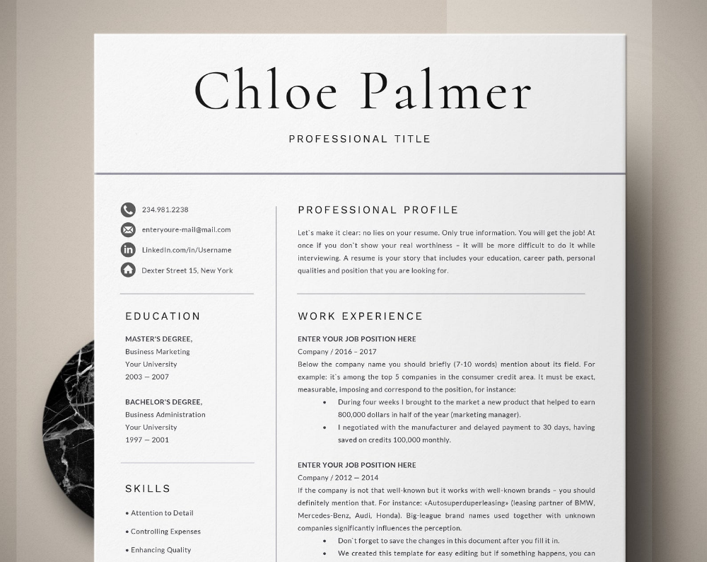 Professional Resume Template Word 1, 3 Page Resume