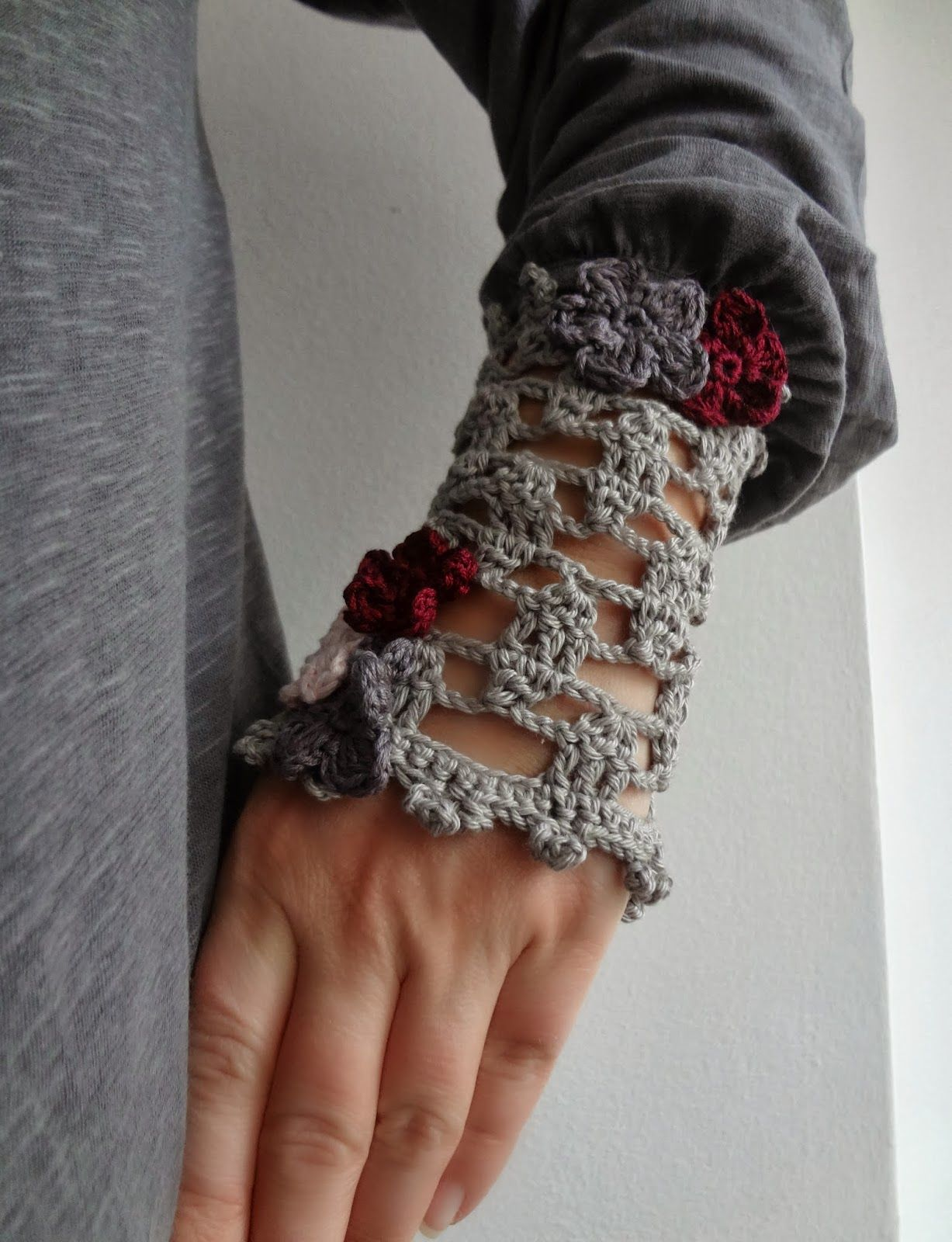 Little Treasures: Crochet Pattern for Lace Wrist Warmers ...