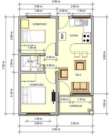 Tradicional plano de casa de 43 5 m2 con 2 dormitorios for Planos de casas de campo de 3 dormitorios