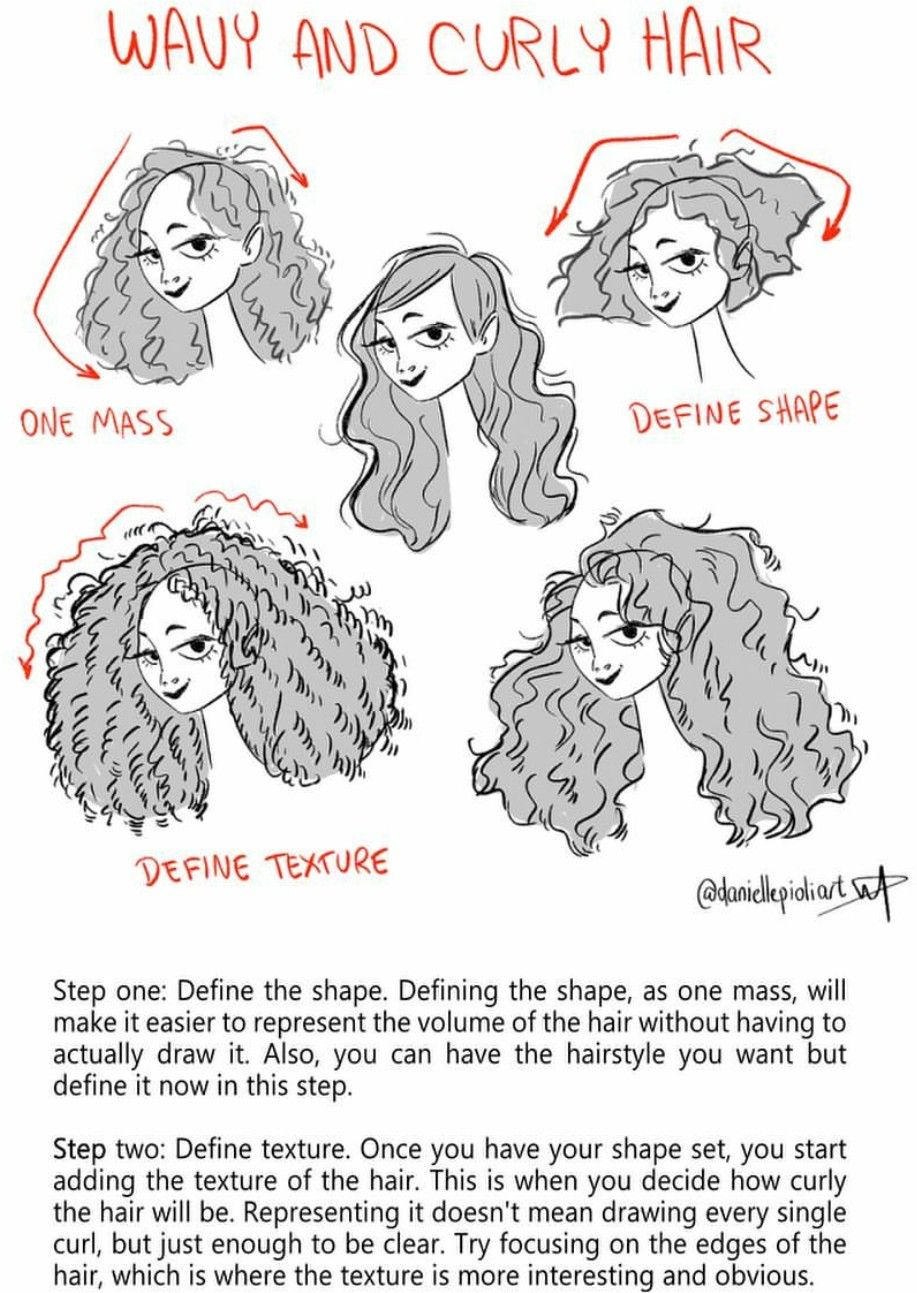 wavy and curly hair draw
