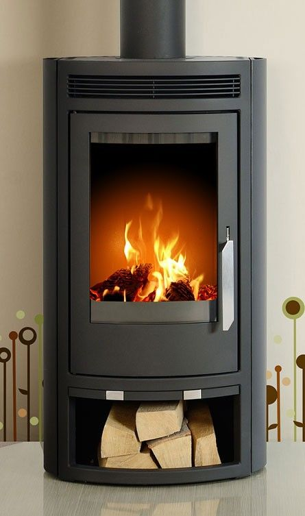 Contemporary Fireplaces For Luxury Living Rooms: Arctic 5kW Curved Contemporary Modern Wood Burning Stove