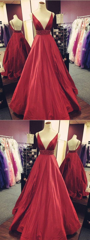 Gorgeous vneck spaghetti straps backless beading red prom dresses
