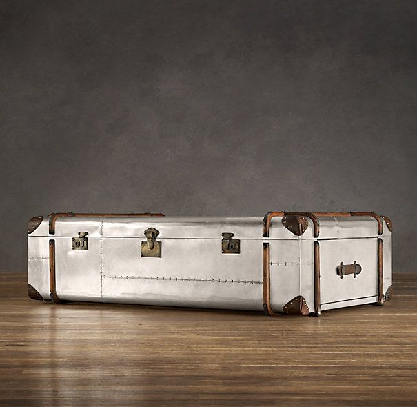 "Restoration Hardware Richards Trunk Coffee Table: For @Derek's Man Cave. 52""W X 33""D X 17""H $1800"