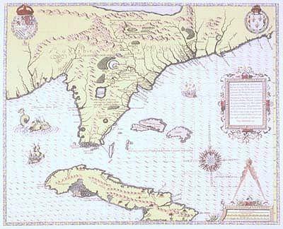 Map Of Florida Cuba And Puerto Rico.1564 Florida Cuba Bahamas Antique Map Reproduction Beachy Vibes