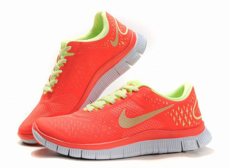 ca714f408a03 Nike Free Run 4.0 Women s Running Shoes Crimson Lemon Platinum - Totally  getting these for school!