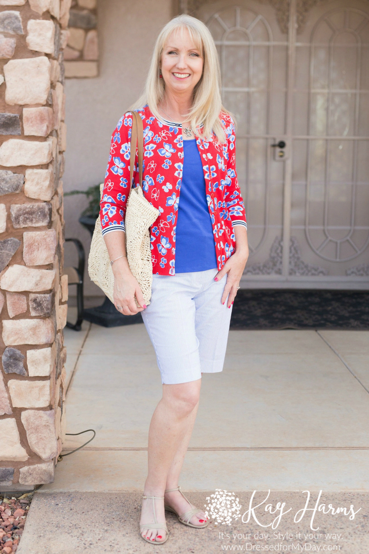 What to wear out to dinner while you're on vacation this summer. Seersucker elevates your shorts and tank to a dressy, out-to-dinner outfit. Paired with a colorful cardi and strappy sandals, this is the perfect ensemble for vacation.   #casual #modernclassicstyle #fashion #fashionover40 #fashionover50 #weekend #whattowear #styleblogger #weekendstyle #fashionblogger #newlook #over50blogger #over40 #dressedformyday #springfashion2018 #seersucker #fashionover40summerStitchFix #summerdinneroutfits W #summerdinneroutfits