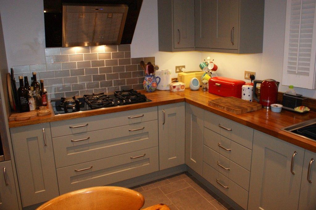 Rivington Oak painted kitchen with Iroko wooden worktop | Kitchen interior, Interior design ...