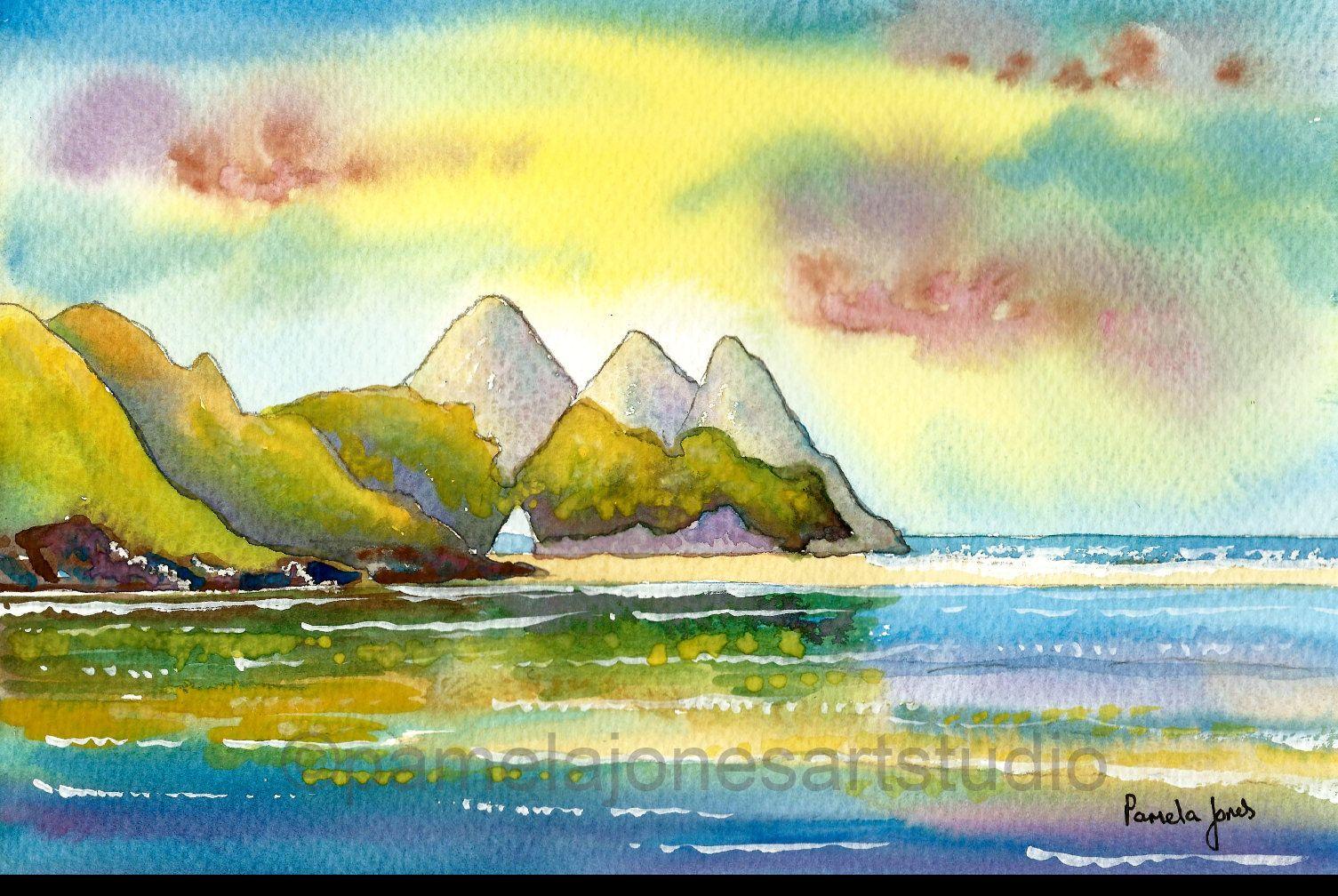 Original Watercolour, Painting, Three Cliffs Bay, Gower