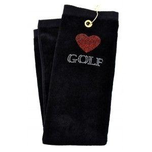 Love Golf Black crystal terry cloth golf towel