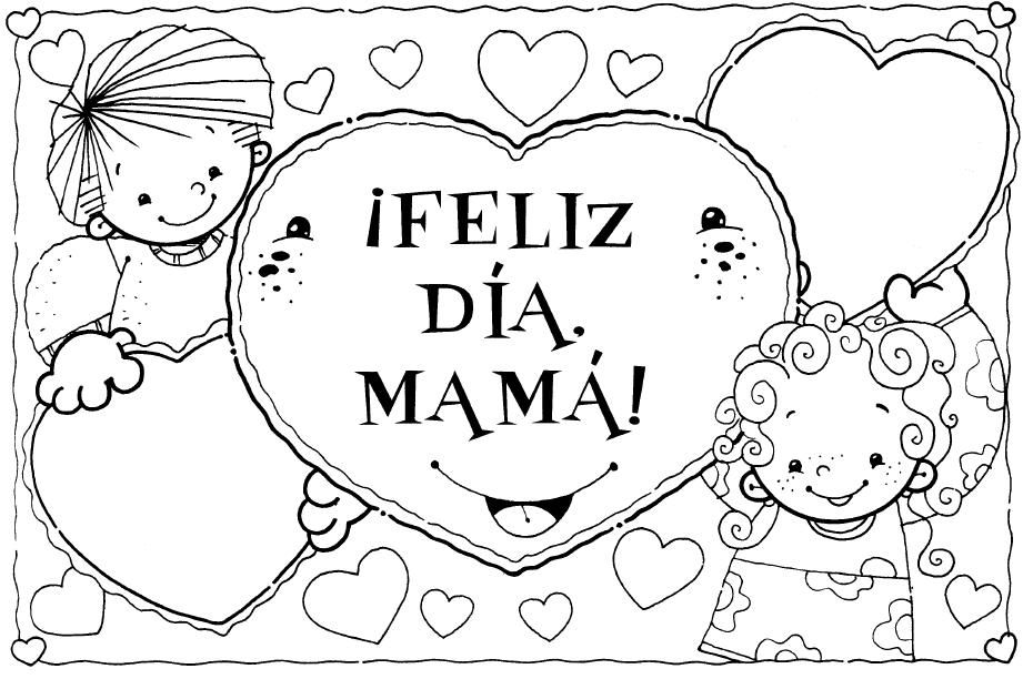 Tarjetas Para Colorear En El Dia De La Madre Dibujos Del Dia De